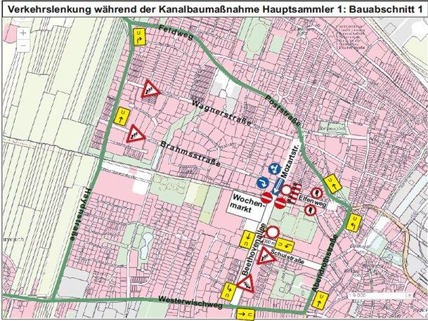 Fortsetzung der Kanalbaumaßnahme in der Beethovenallee und in der Mozartstraße