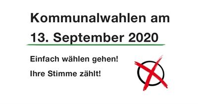 Die diesjährigen Kommunalwahlen finden am 13. September 2020 statt.