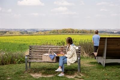 Vom Picknickplatz an der Bruder-Klaus-Kapelle bei Havixbeck gibt es einen herrlichen Ausblick in die Münsterländer Parklandschaft. © Münsterland e.V./Romana Dombrowski