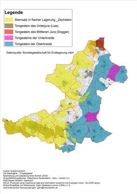 Das Schaubild zeigt die im Kreis Borken ausgewiesenen Teilgebiete – Grafik: Bundesgesellschaft für Endlagerung mbH