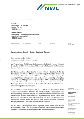 Schreiben NWL Schienenstrecke Bocholt - Borken - Coesfeld (-Münster), Seite 1