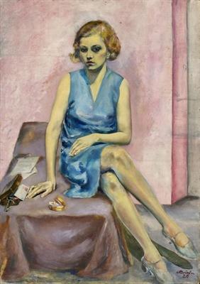 Carl Busch: Junge Dame in blauem Kleid