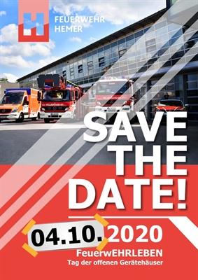 """© Feuerwehr Hemer - Von den Absagen ist auch der Tag der offenen Gerätehäuser, der für den 26. April unter dem Motto """"FeuerwERHLEBEN"""" geplant war, betroffen."""