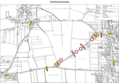 ©  - Die Karte zeigt die Umleitungen anlässlich der Tiefbauarbeiten an der Kreisstraße 63 in Oestereiden und Hoinkhausen am Montag, 4. Januar 20121. Karte: Kreis Soest