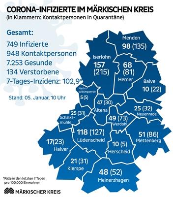 ©  - Lagekarte zur aktuellen Corona-Situation im Märkischen Kreis. Grafik: Märkischer Kreis