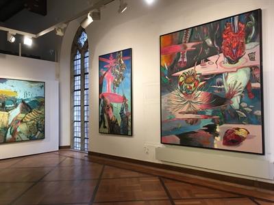 """© Stadt Borken - Ein Blick in die Ausstellung """"Sighard Gille – Schwinden"""" im Saal des FARB."""
