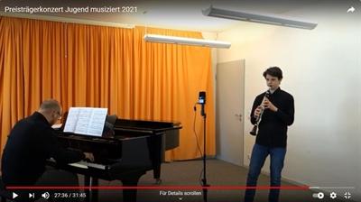 """© Stadt Osnabrück, Musik- und Kunstschule Osnabrück - Screenshot: Luis und Oliver McCall beim virtuellen Preisträgerkonzert """"Jugend musi-ziert"""" 2021; Youtube-Kanal der städtischen Musik- und Kunstschule"""