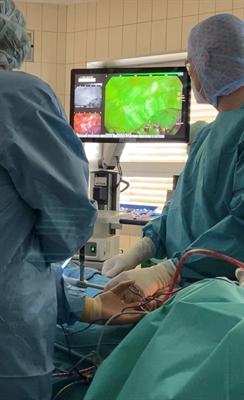 Thorax-Eingriff mit fluoreszierender Einfärbung der Lunge 1