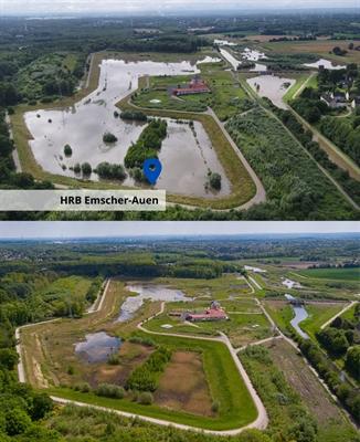 Hochwasserrückhaltebecken Emscher-Auen (Vorher/Nachher)