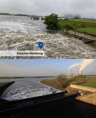 Hochwasserrückhaltebecken Emscher-Mündung (Vorher/Nachher)
