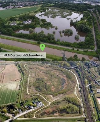 Hochwasserrückhaltebecken Dortmund-Scharnhorst (Vorher/Nachher)