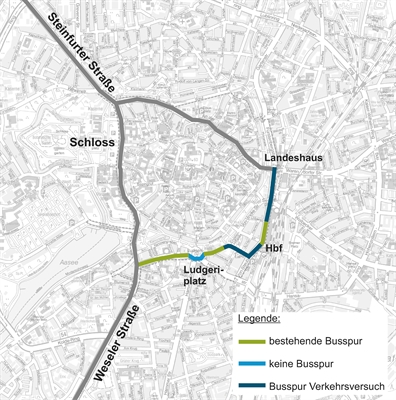 Verkehrsversuche: Karte Busspur
