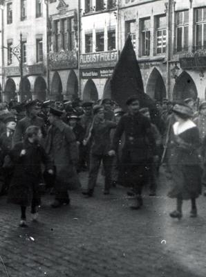 Originalfoto Fahnenträger auf dem Prinzipalmarkt